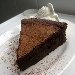 68 Days of Gourmet Flourless Chocolate Cake bakin and eggs